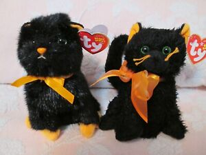 TY Halloween Beanie Babies - Jinxy & Moonlight Black Cats - New with Tags