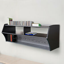 wall mount tv stand floating shelf media console center cd black