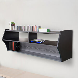 wall mount tv stand floating shelf media console entertainment center cd black ebay. Black Bedroom Furniture Sets. Home Design Ideas