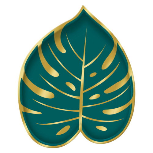 8 Hawaiian Key West Green Palm Leaf Shape Plate 18cm Tropical Party Tableware