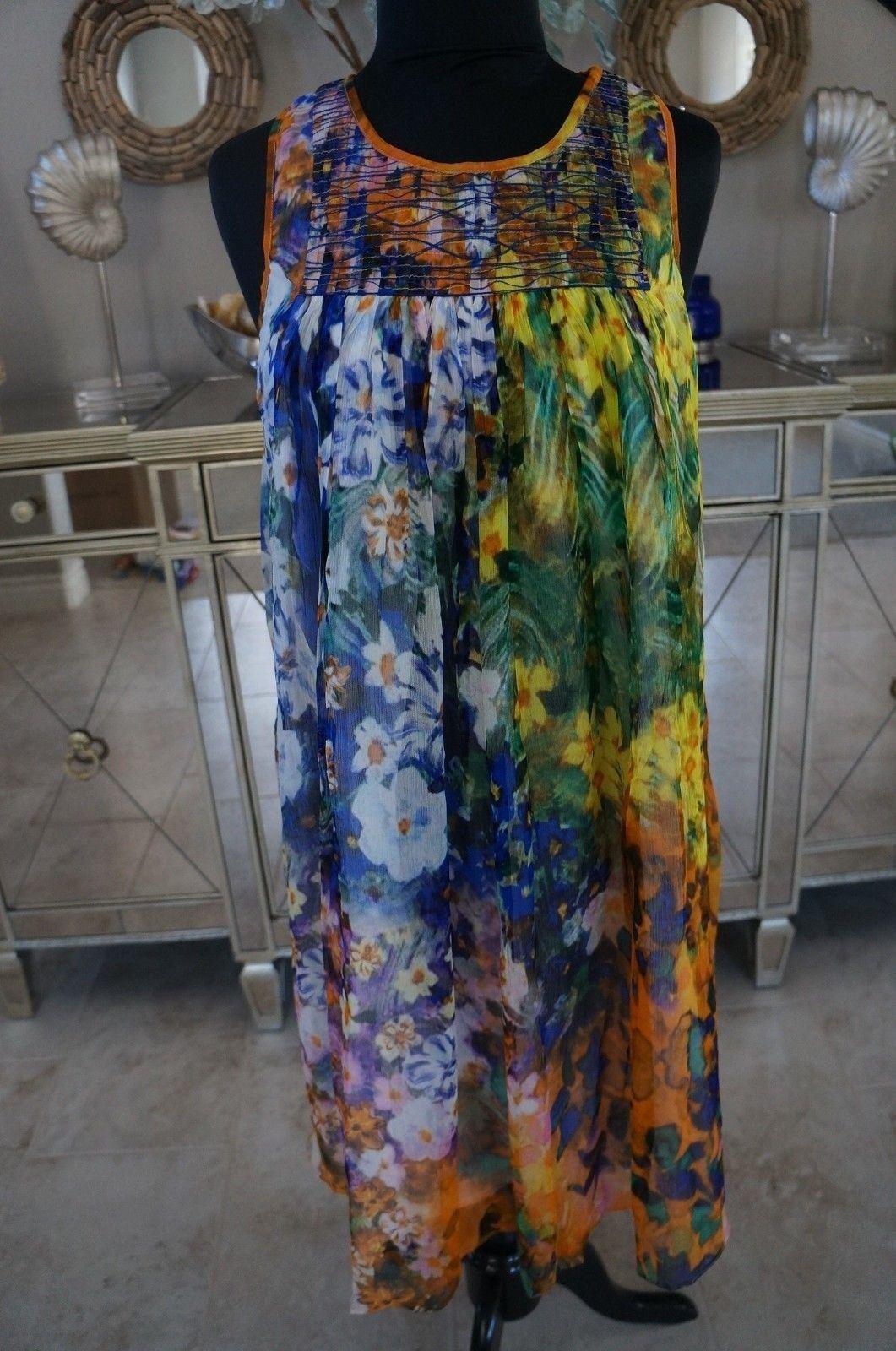 NEW Pashma Petanu Anthropologie Silk Hand Woven & Printed Dress SOFT S M RP