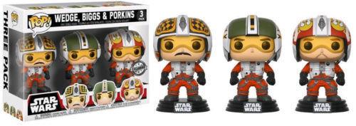 Exclusivo Star Wars X-Wing 3 Pack 9.5cm Pop Vinyl Funko Biggs Cuña Porkins