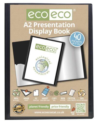6 x eco-eco A2 50/% Recycled 40 Pocket Black Folder Presentation Display Book