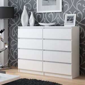 kommode mit 8 schubladen 120cm sideboard wei anrichte holz ebay. Black Bedroom Furniture Sets. Home Design Ideas