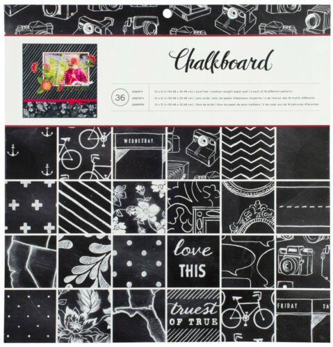 36 18 American Crafts CHALKBOARD 12x12 Paper Pad Sheets Designs