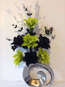 Artificial silk flower arrangement in lime green black in metallic image is loading artificial silk flower arrangement in lime green amp mightylinksfo