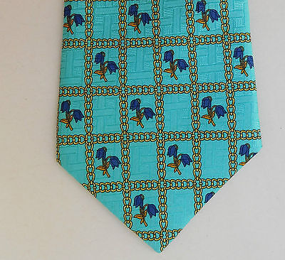 Turquoise floral check tie blue flowers Italian