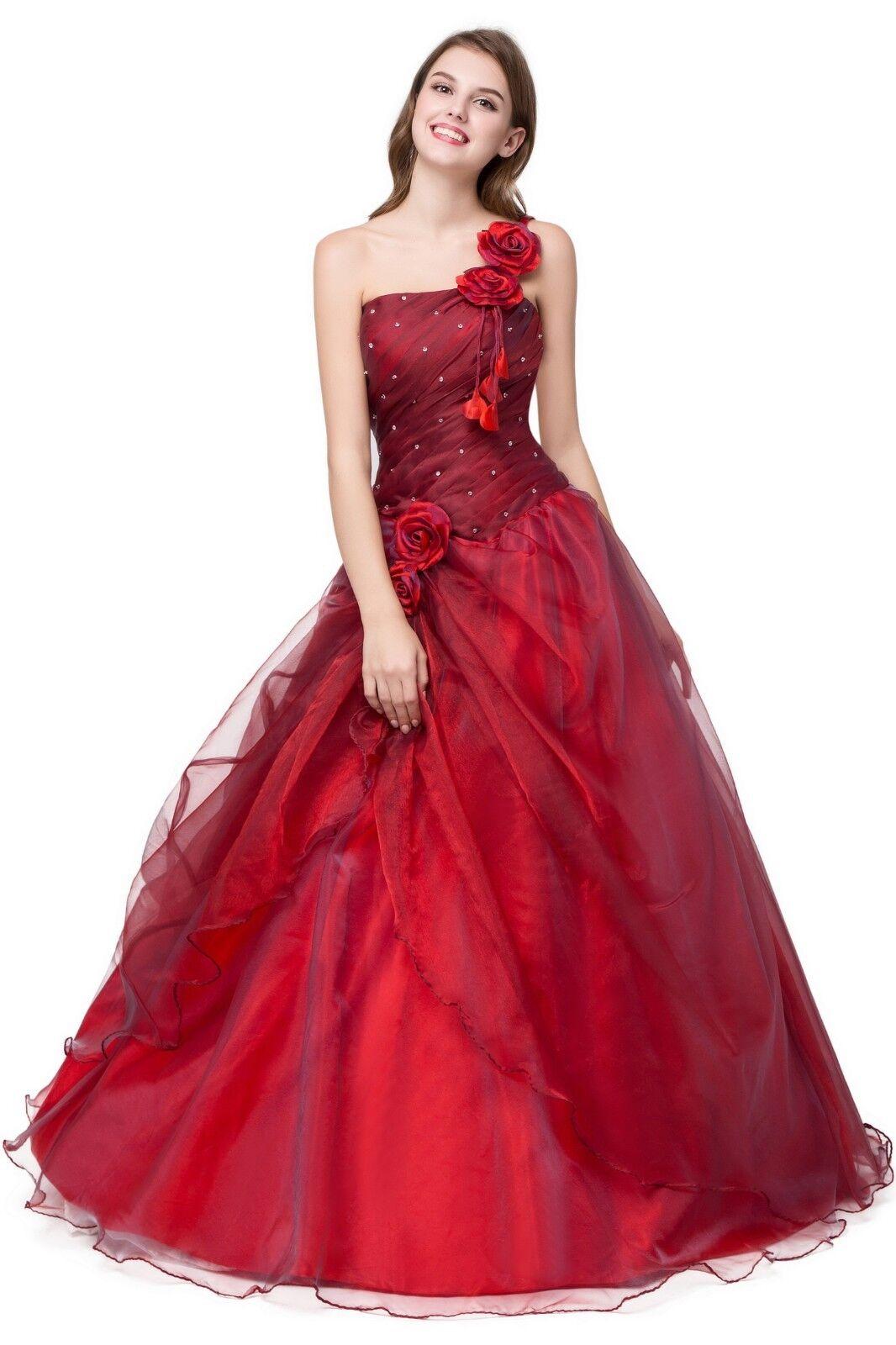 Abendkleid Ballkleid ROT 1-Shoulder Brautjungfernkleid Party Kleid sofort M6 38