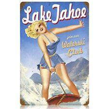 Lake Tahoe Waterski Club Pin Up Pinup Tin Metal Steel Sign Reproduction 12x18