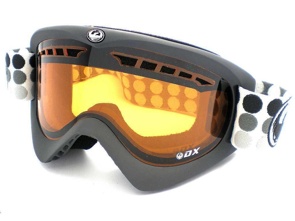 Drache Ski Ski Ski Schnee Dx Brille Matt Grau Gepunktet   Belüftet Bernstein Neu 591156