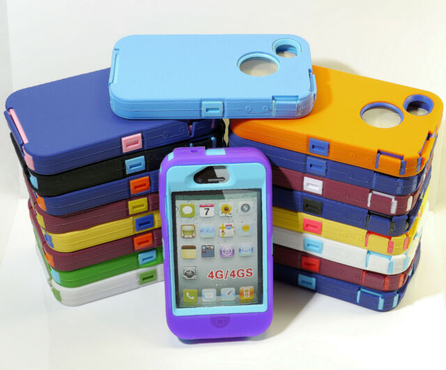 MANY COLOR HEAVY DUTY RUGGED IMPACT HARD CASE W/ BUILT IN SCREEN FOR iPHONE 4 4S