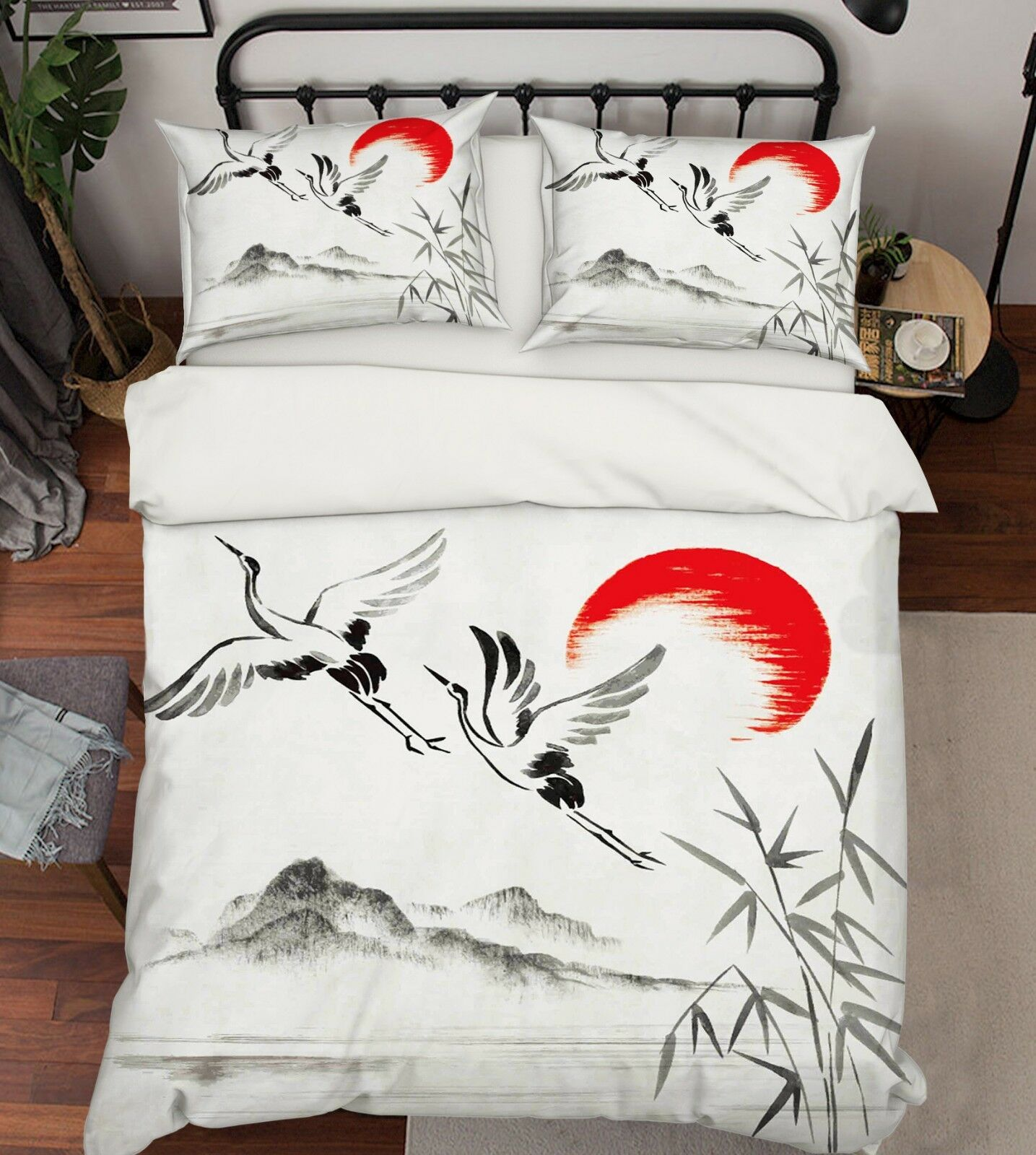 3D Sun Heron Reeds 7 Bed Pillowcases Quilt Duvet Cover Set Single King UK Summer