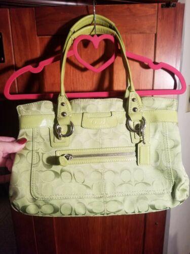 COACH Signature F14696 Penelope Lime Green Bag Sat