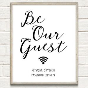 a65575f306ad8 Details about A4 Personalised Wifi Password Typography Print Wall Art Gift  Home Decor UNFRAMED