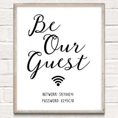 A4 wifi personalizzato password tipografia stampa wall art for Arredamento regalo
