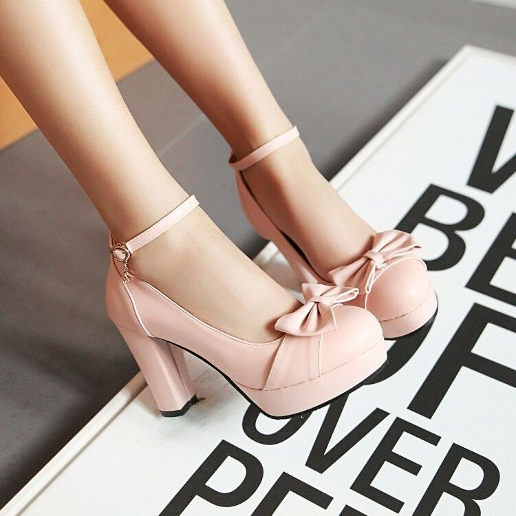 Ladies Sweet Lolita Ankle Strap Mary Jane Lolita Pumps High Heel Bowknot shoes