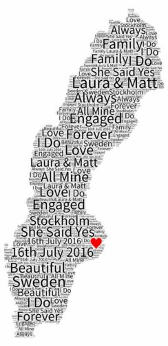 Engagement Word Art Gift Map Of Love Anniversary Wedding Present SWEDEN Any City