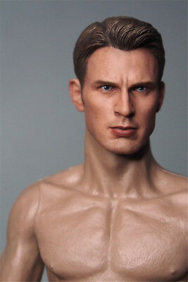 1//6 Scale  Captain America Chris Evans Male Head Carving Fit 12/'/' Figure