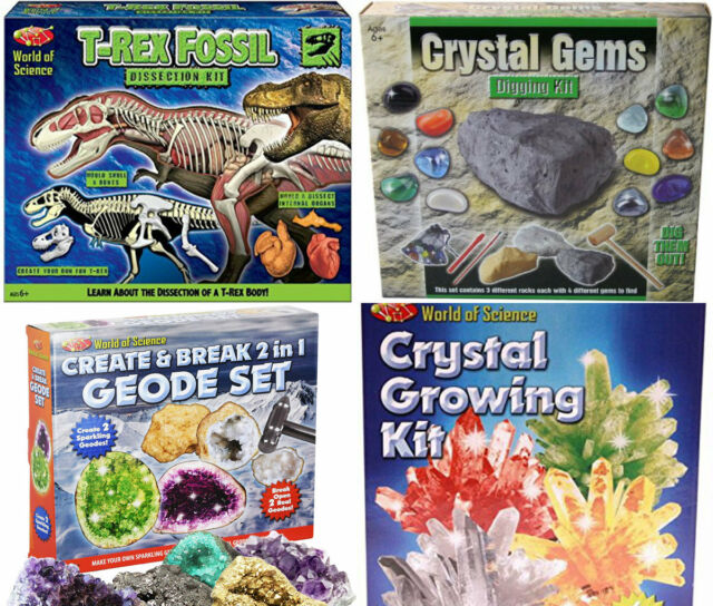 Kid's Science Experiments Make Your Own Crystals Geode Fossils Educational  Gift