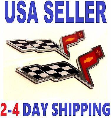 X2 CORVETTE x2 PIECES X Cross Flags CHEVROLET TRUCK EMBLEM Sign Logo ORNAMENT sv