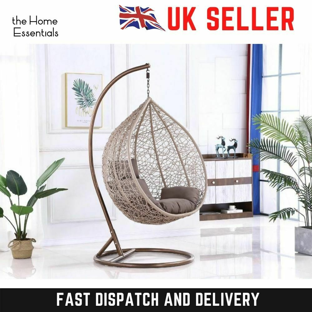 Quatropi Outdoor Garden Rattan Pod Hanging Chair Set Stone Grey Hc1 For Sale Ebay