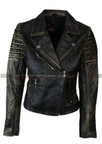 Nero In Sdrucito Pelle Donna Biker Cafe Vintage Giacca Racer Vera xAwq70XI