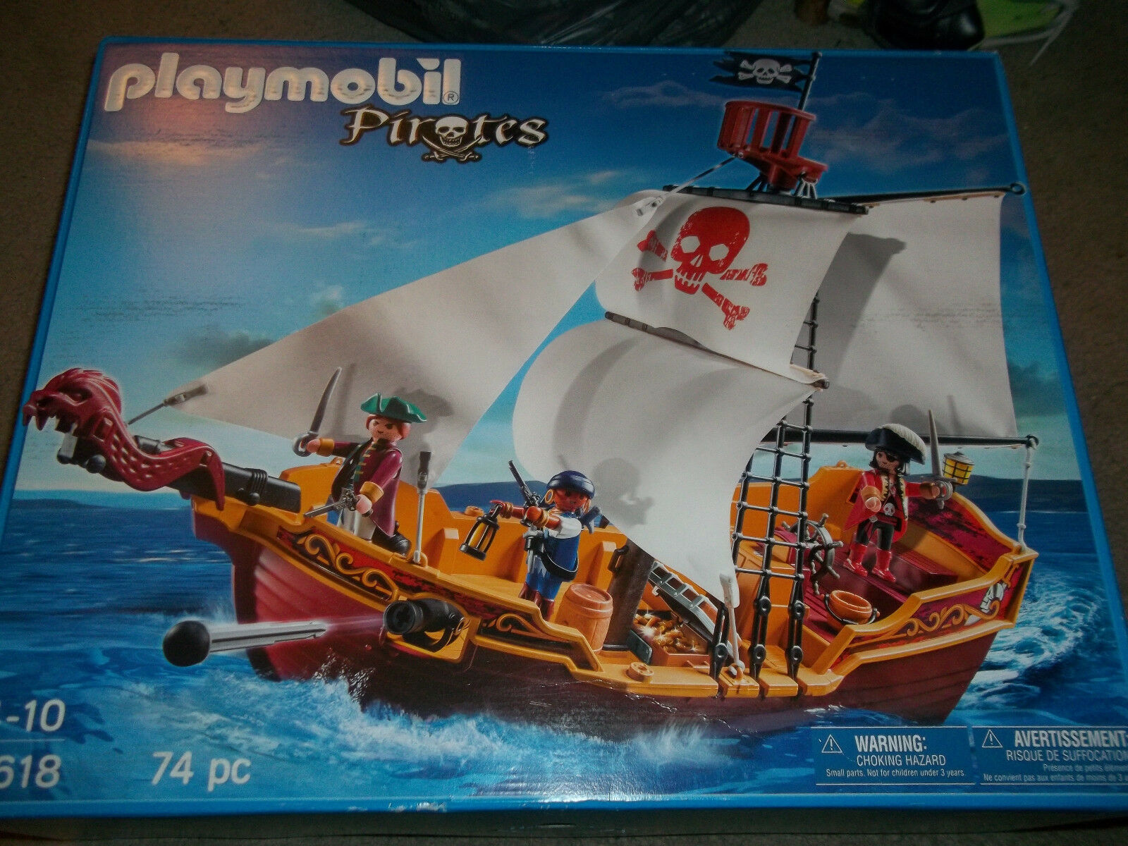 Playmobil Pirates Pirate Ship with 3 pirates firing cannons New sealed