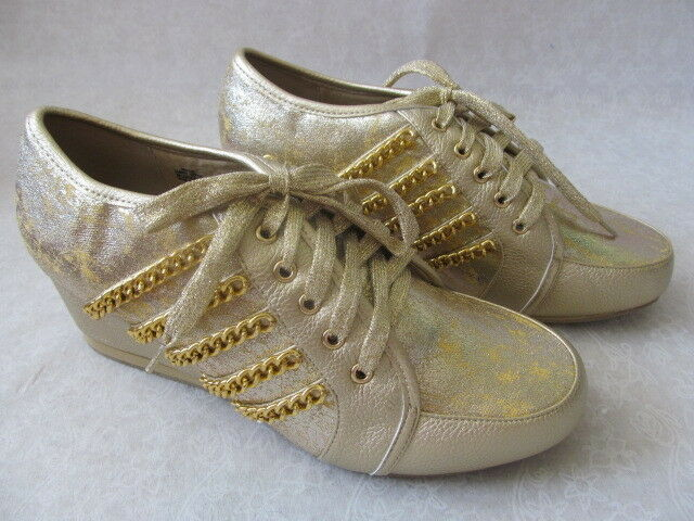 JOAN BOYCE METALLIC GOLD WEDGE COMFORT SHOES SIZE 10 W - NEW W BOX