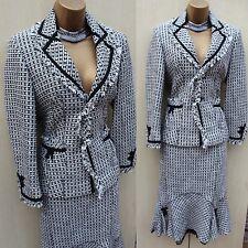 Karen Millen Fit Flare Elegant 40's Style Fitted Jacket Skirt Suit Dress up SZ12