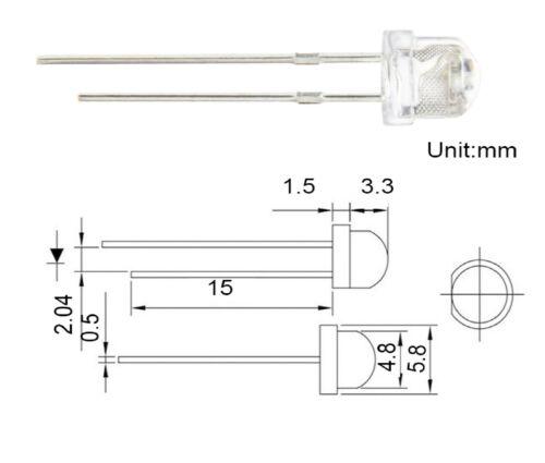 RESISTENZE OMAGGIO 25 diodi led 4,8 mm bianco freddo STRAW HAT 5 mm 170°