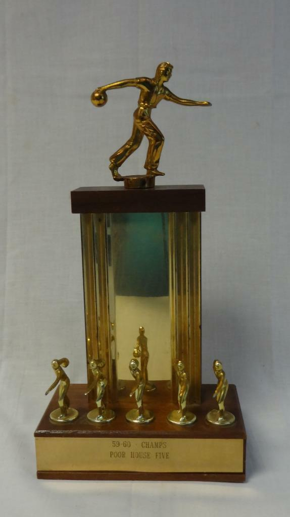 Beautiful vintage 1960 team bowling trophy figural
