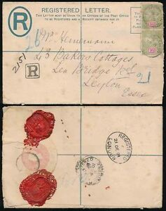 CEYLON QV REGISTERED STATIONERY ENV.1901 to LEYTON GB + SEALS + SMALL BOXED R