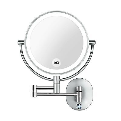 Amnoamno Vanity Mirror 8 5 Led Double, Pansonite Led Wall Mount Makeup Mirror With 10x Magnification