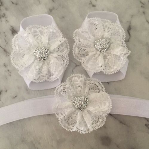 Baby Girls Barefoot Sandals Lace Foot Flower Silver Shoes Headband White