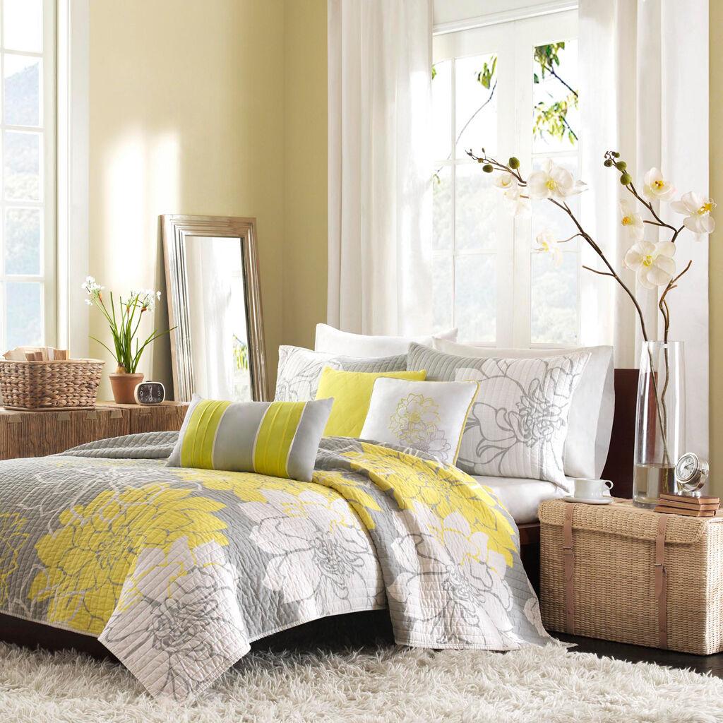 BEAUTIFUL 6PC MODERN COTTON grau Gelb FLORAL FLOWER QUILT SET QUEEN & KING SZS