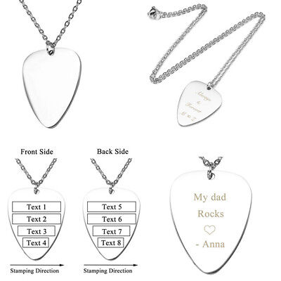 """Text Engraved Women Men Stainless Steel Guitar Pick Pendant Silver Necklace 24/"""""""