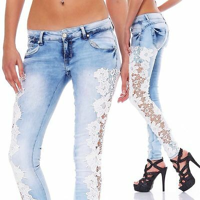 Skinny Jeans Side Bow Cutout Ripped Denim Jeans Party Jeans five pockets Style