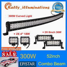 52'' 300W CURVED LED LIGHT BAR+2X 8'' 36W OFFROAD TRUCK+2pcs 4inch 18W CREE LAMP