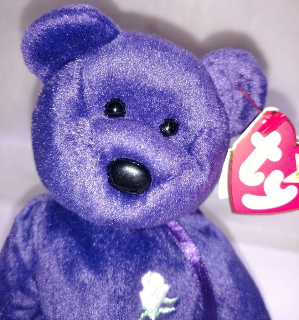 Ty Beanie Princess Diana Retired Purple Bear Mothers Day Gift