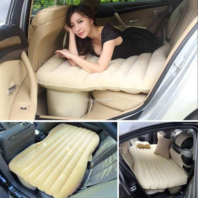 Apricot  Inflatable Car Mobile Cushion Seat Sleep Rest Mattress Air Bed # Pump