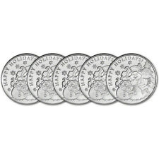 5 FIVE 1 oz SilverTowne Snowman Tis Christmas .999 Fine Silver Round