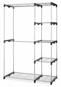New double rod closet organizer hanging rack clothes storage image is loading new double rod closet organizer hanging rack clothes sisterspd