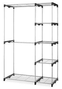 New Double Rod Closet Organizer Hanging Rack Clothes