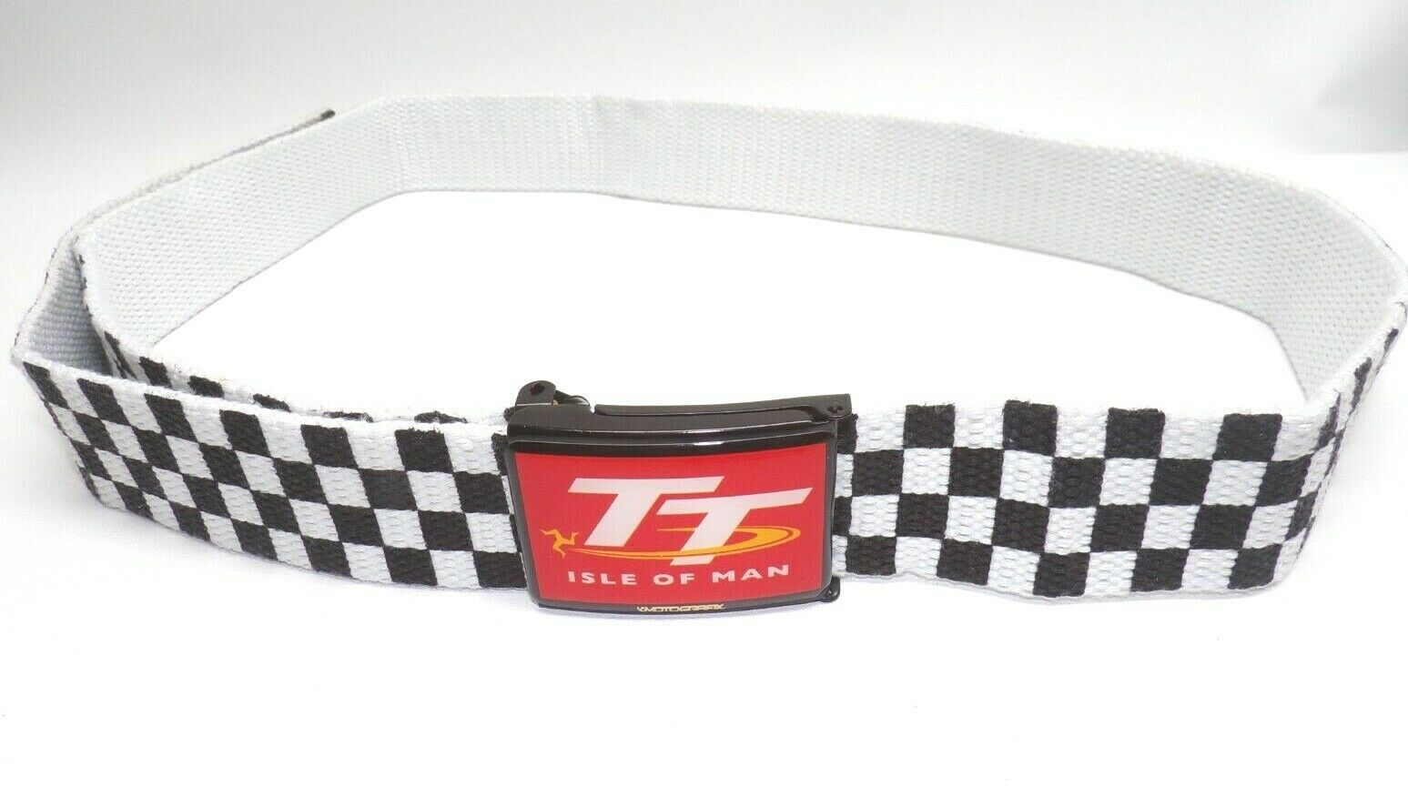 Chequed WeaveMetal Buckle Belt with Isle of man Official TT Gel badge