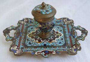Encrier-ancien-en-bronze-et-emaux-cloisonnes-Decor-floral-Fin-XIXe