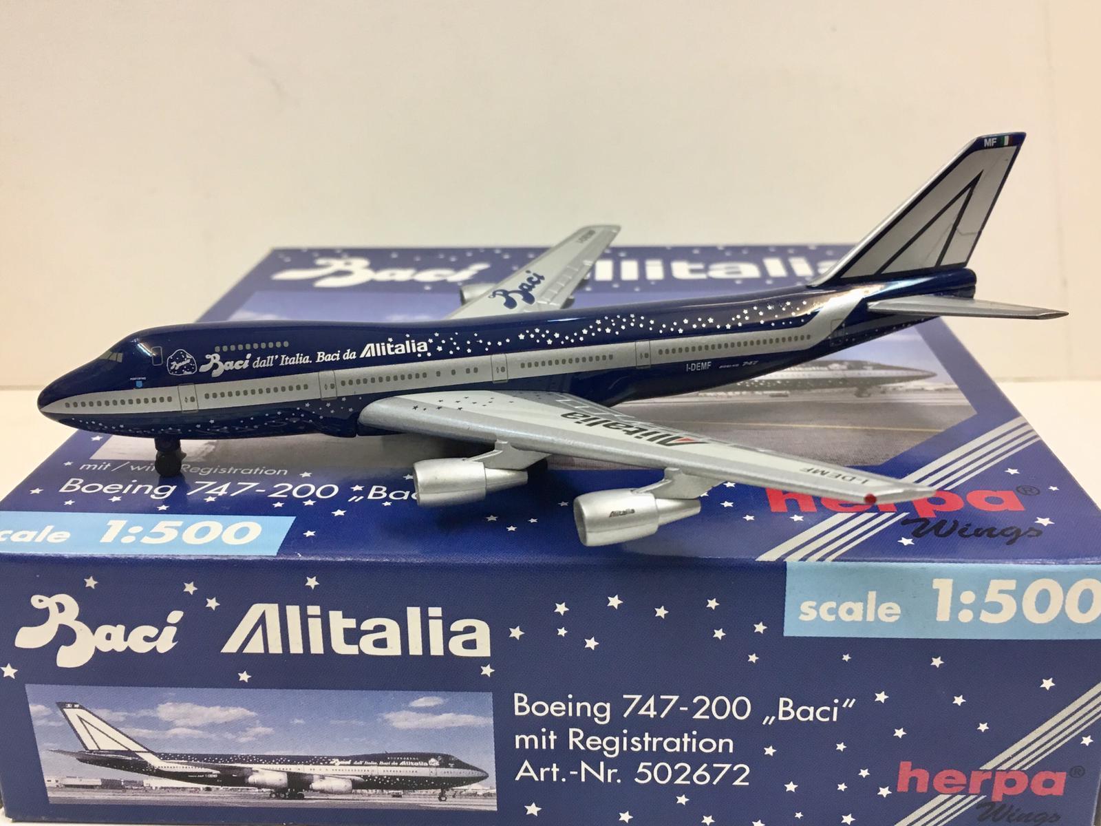 comprar marca Herpa Wings BACI Alitalia Boeing Boeing Boeing 747-200 1 500 I-DEMF 502672  Todo en alta calidad y bajo precio.