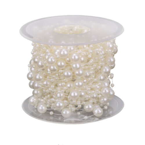 1 Roll of 15 Meters Pearl Beaded Ribbon Chain Trim Embellishment for DIY Craft
