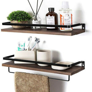 Set of 2 Brown Floating Shelves Wall Mounted Storage Shelves with Towel Holder