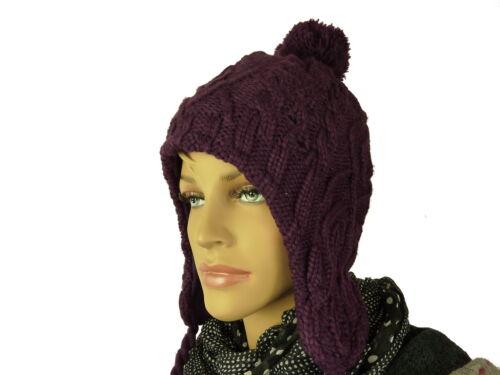 Damenmütze Strickmütze Bommel Damen Mütze Wintermütze gefüttert Beanie TA1138