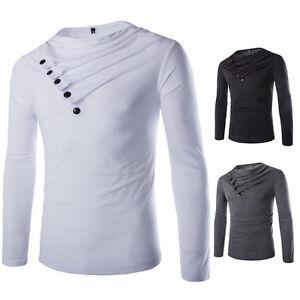 Stylish-Men-039-s-Long-Sleeve-T-shirt-Slim-Fit-Casual-Tee-Shirts-Dress-Tops